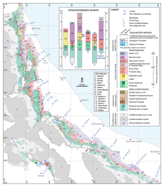 SE - A revised map of volcanic units in the Oman ophiolite: insights ...