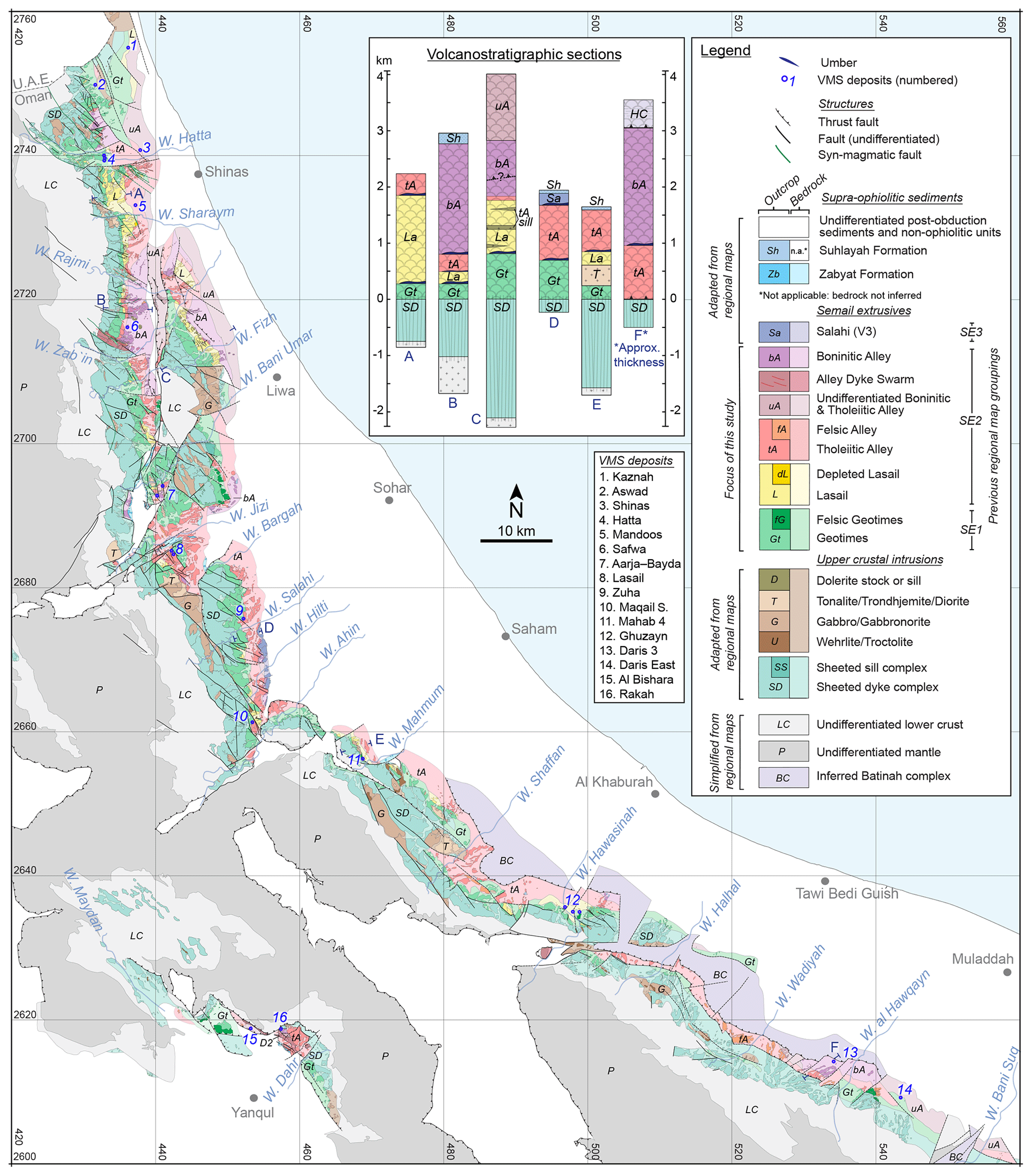 SE - A revised map of volcanic units in the Oman ophiolite ...
