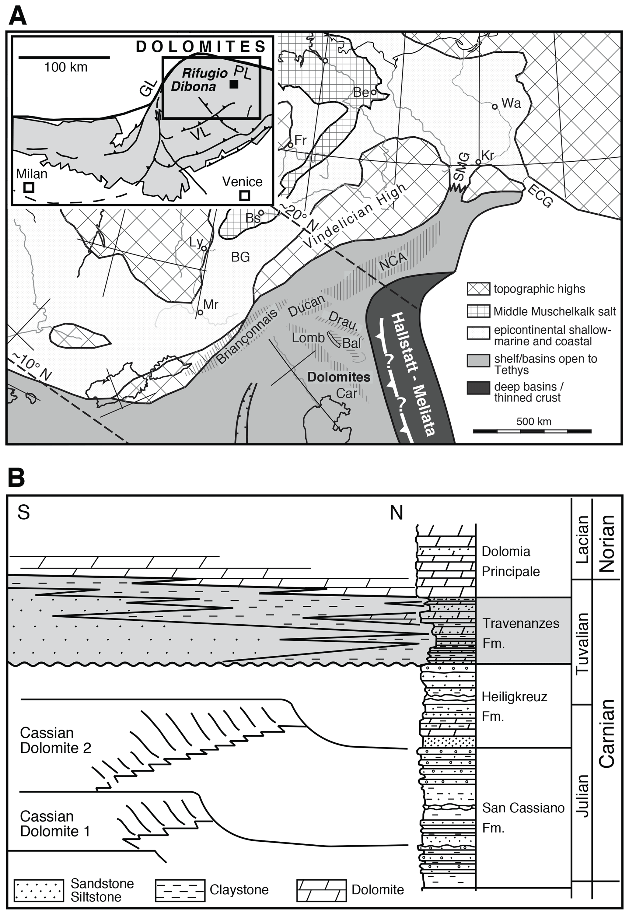 SE - Precipitation of dolomite from seawater on a Carnian