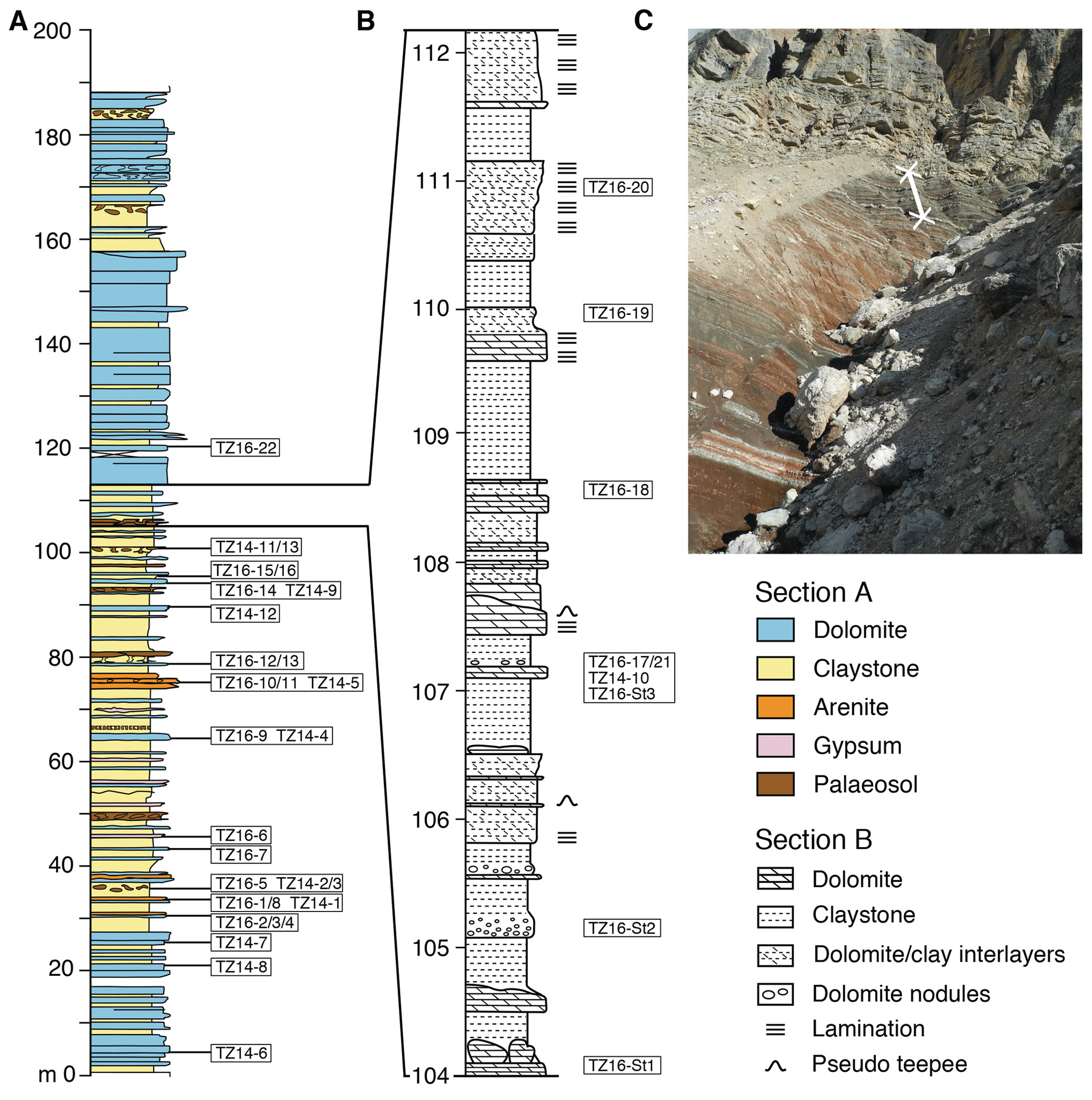 SE - Precipitation of dolomite from seawater on a Carnian coastal